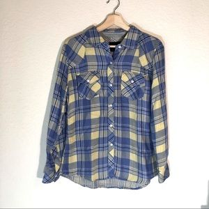 Rails Plaid Button Down Shirt Yellow Blue Small